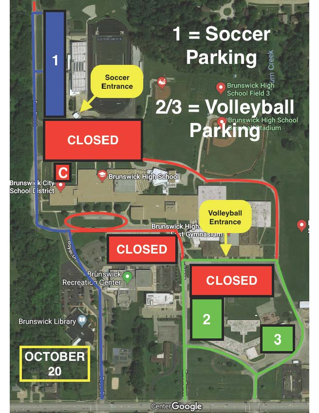 Parking Map for Brunswick HS