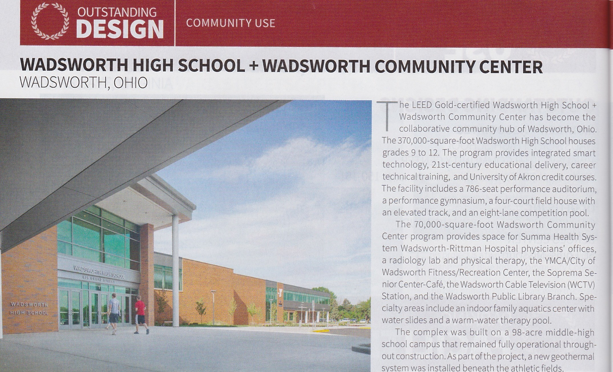 WHS Outstanding Design Award